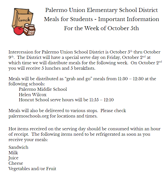 Food Distribution for October Break